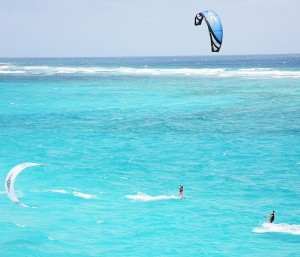 Two kitesurfers off Crane Beach in Barbados.